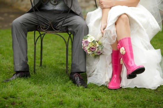 Bride Wearing Wellies