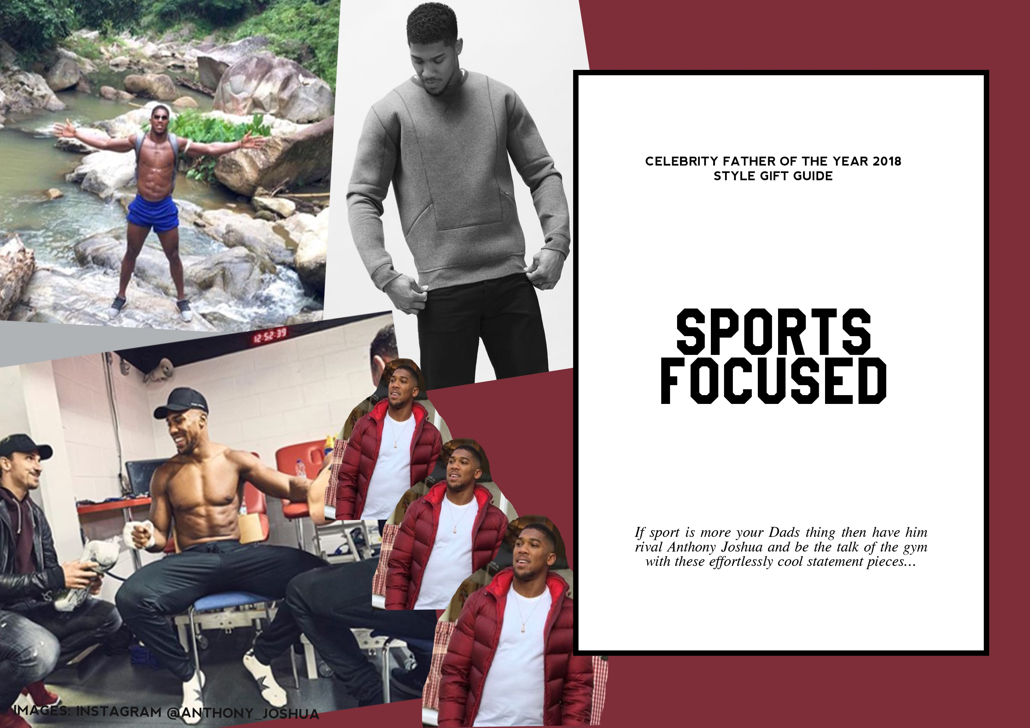 Anthony Joshua, World Champion, Boxing, Menswear, Fashion, Sports, Gym, Style Guide, Gift Guide, Father's Day 2018, Father of the year