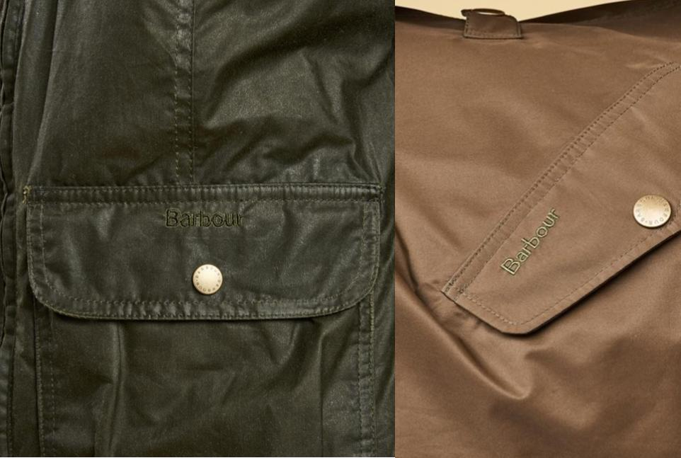 how to spot a fake barbour jacket brand stitching font