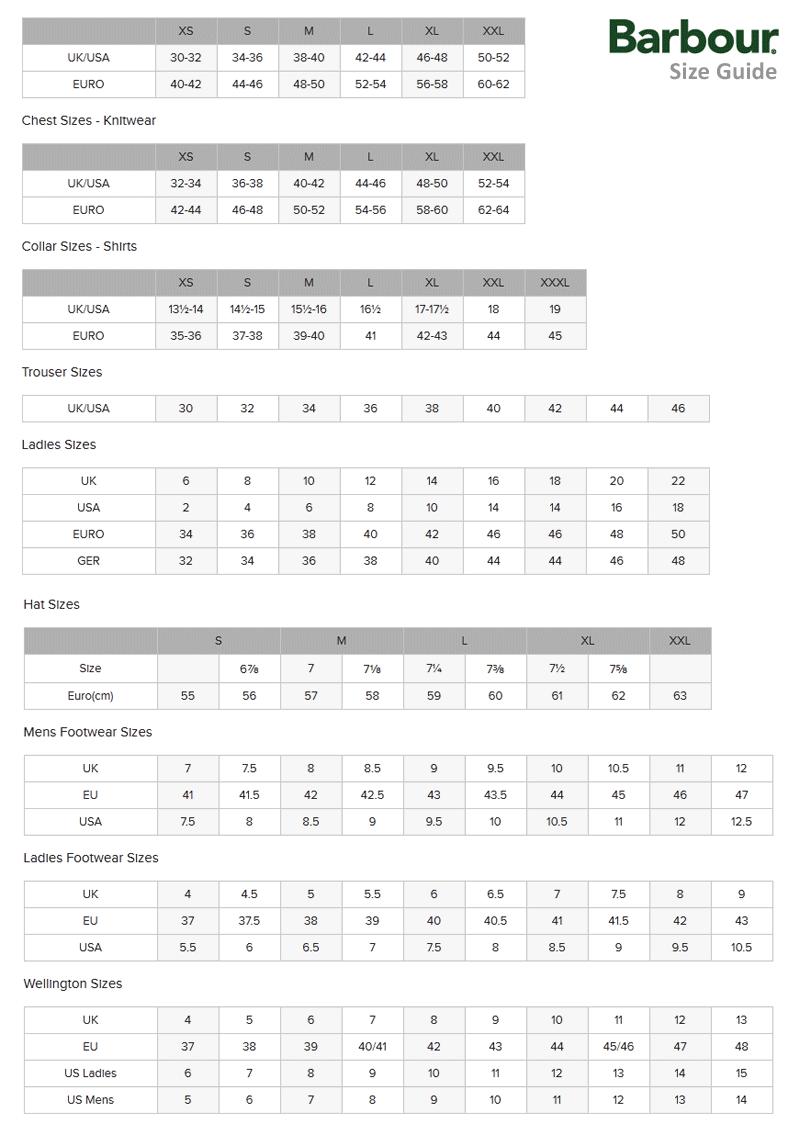 Barbour International Size Charts - orvis.com