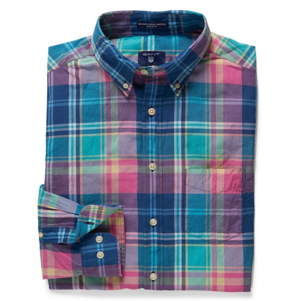 Gant backspin indigo madras mens shirt mens from cho for Mens madras shirt sale