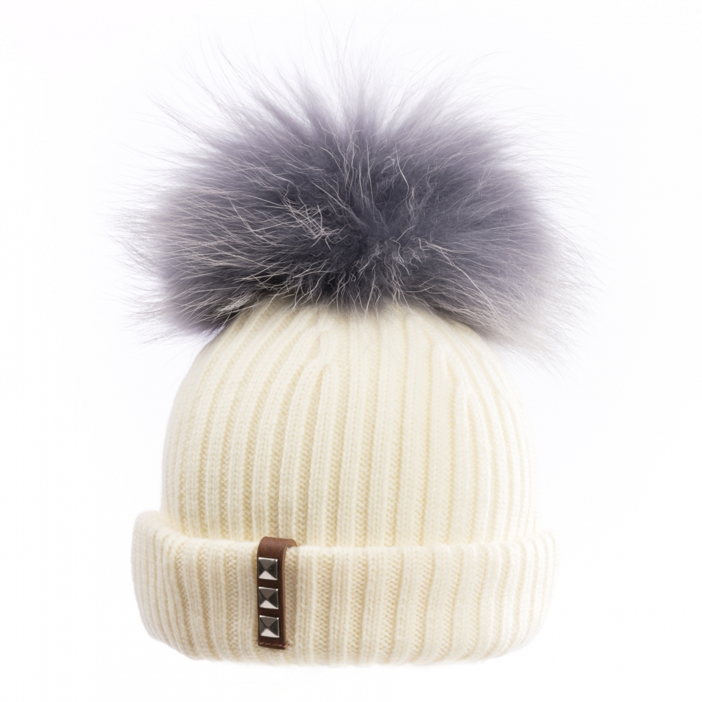 BKLYN Ivory Mid-Grey Womens Pom Pom Hat - Christmas Gifts For Her ... c4576fe32c08