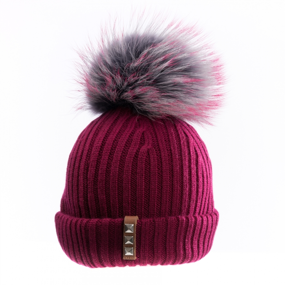 BKLYN Light Grey Grey Purple Womens Pom Pom Hat - Valentines Day ... f0811596fb