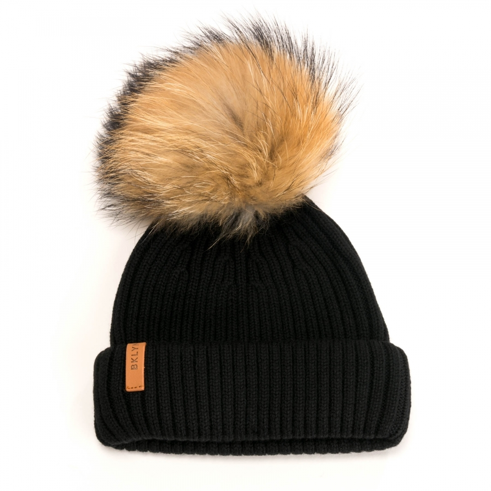 BKLYN Merinos Black Natural Racoon Pom Womens Hat - Womens from CHO ... e3a28c988bd