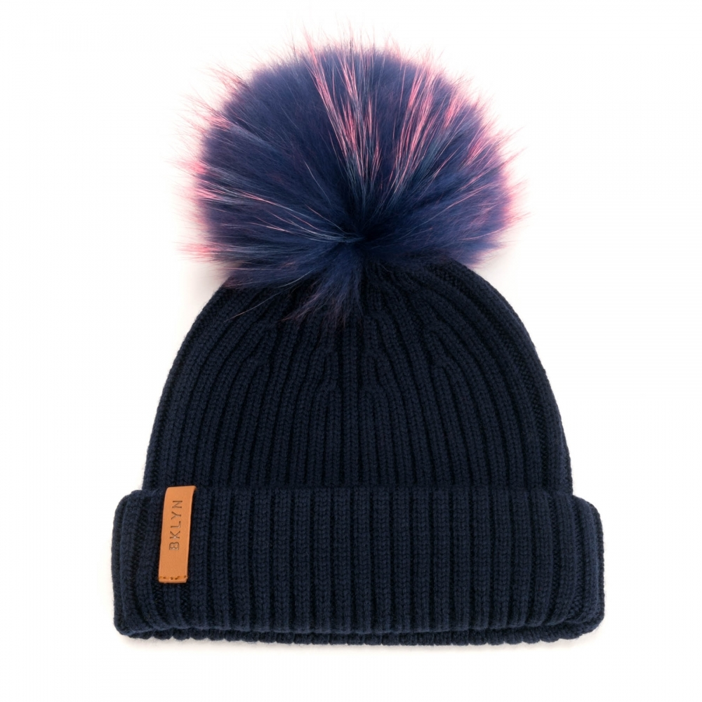 74ff44ff631 BKLYN Merinos Navy Baby Pink Racoon Pom Womens Hat - Womens from CHO ...
