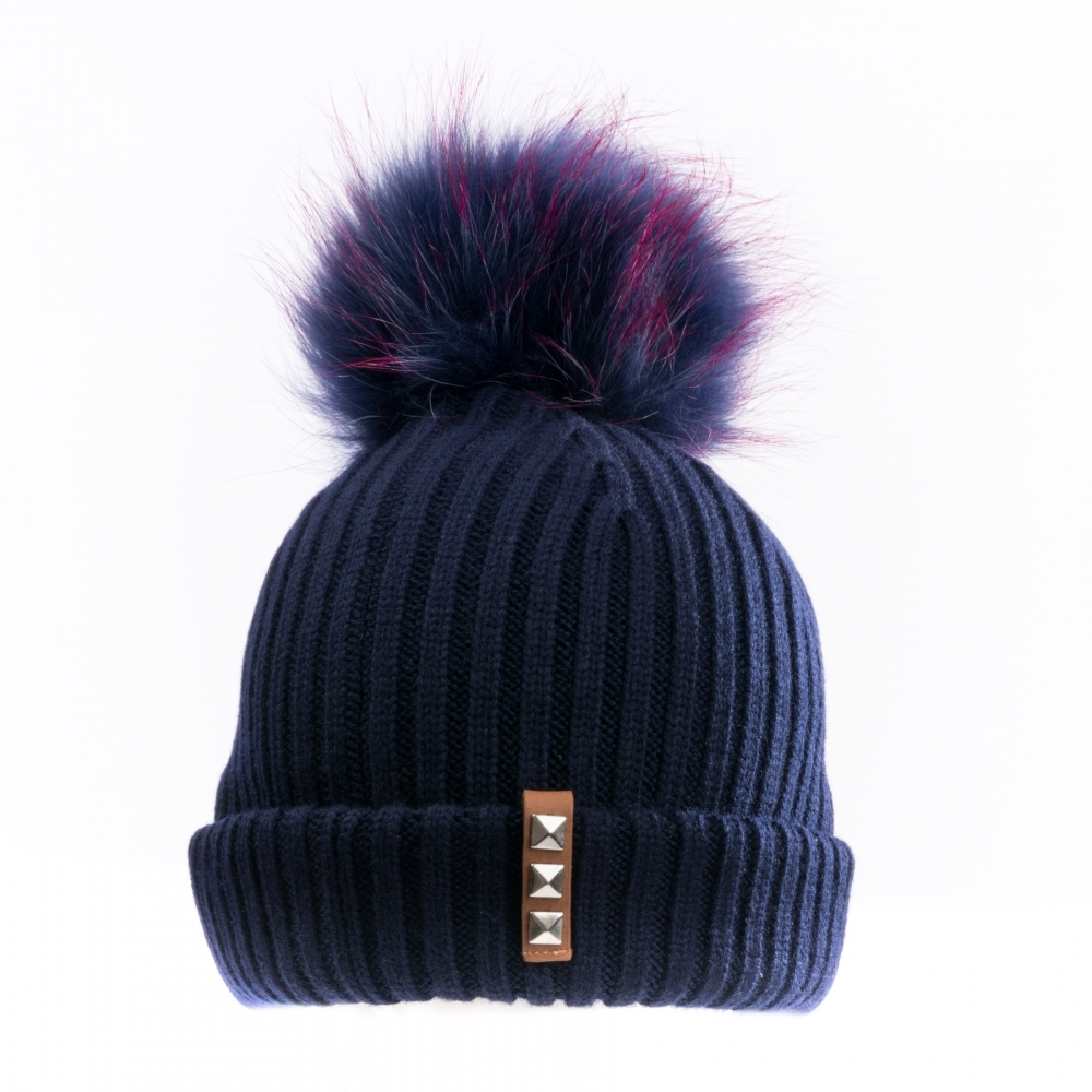 BKLYN Navy Navy-Pink Womens Pom Pom Hat - Womens from CHO Fashion ... 9091ea82f1