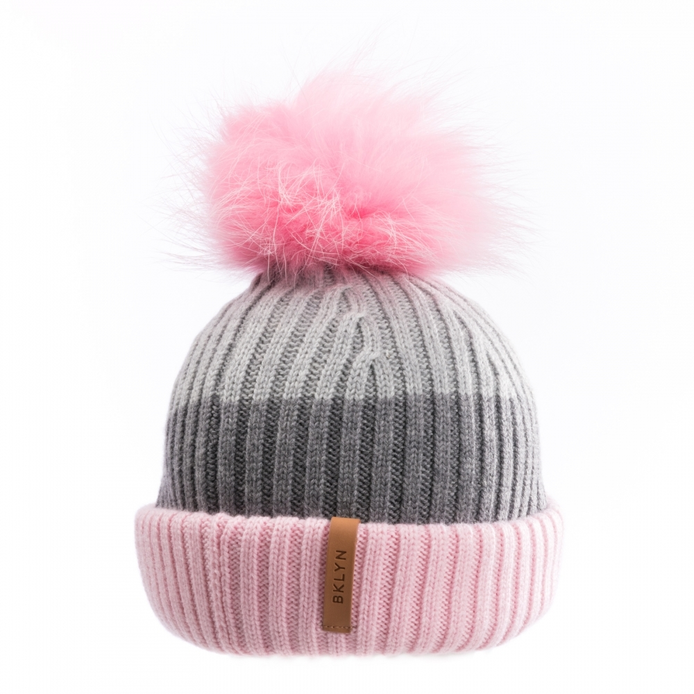 BKLYN Pink Mid Grey Light Grey Baby Pink Womens Pom Pom Hat - Womens ... 65e4f7a54c