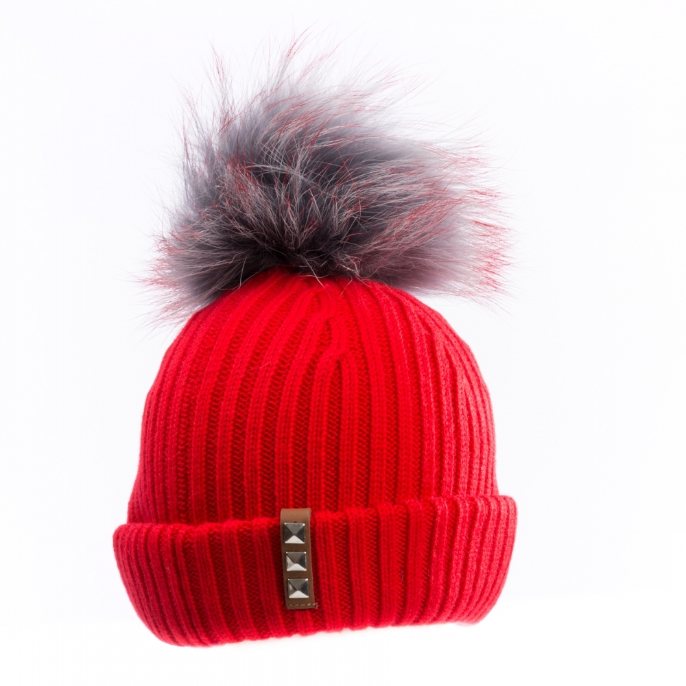 BKLYN Red Grey Red Womens Pom Pom Hat - Valentines Day Gifts For Her ... 1828e2cb3a5