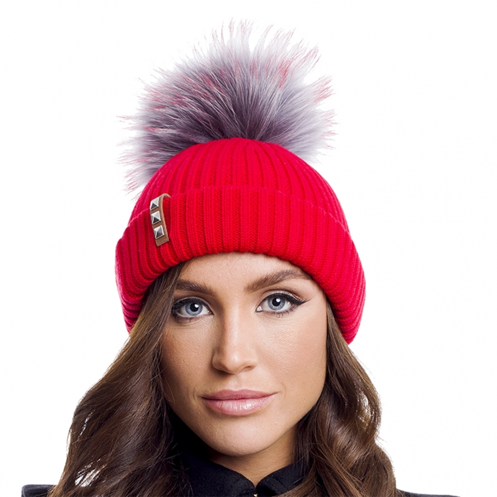 b98ee37944c BKLYN Red Grey Red Womens Pom Pom Hat - Valentines Day Gifts For Her ...