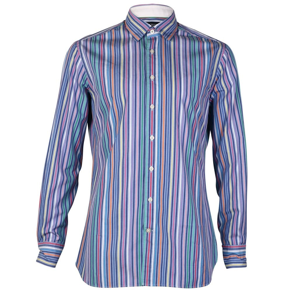 Hackett Bright Multi Coloured Stripe Mens Shirt Mens