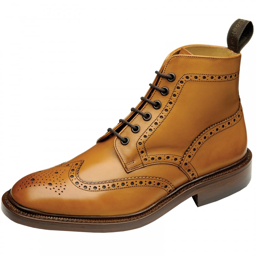loake burford rubber sole mens brogue boot mens from cho