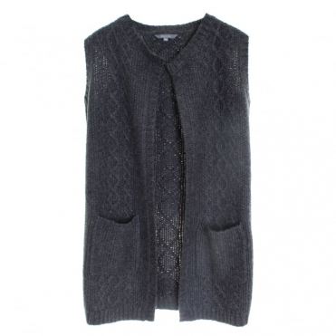 Cable Knit Long Line Marl Ladies Cardigan