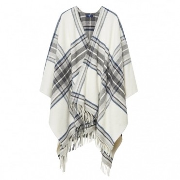 Check Lambswool Ladies Poncho