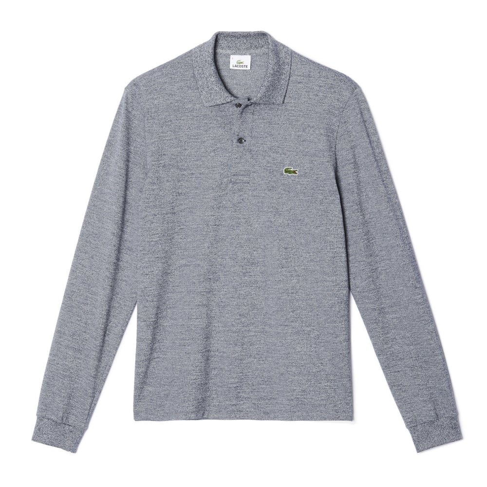 b04b4f78 Classic Fit Mens Long Sleeve Polo In Marl Petit Pique