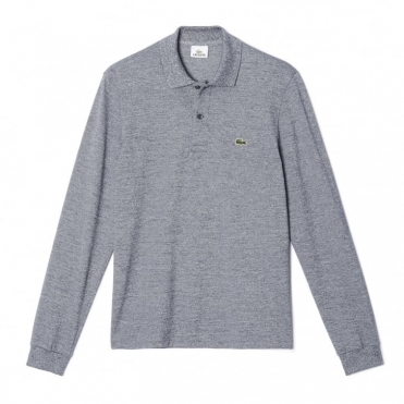 Classic Fit Mens Long Sleeve Polo In Marl Petit Pique