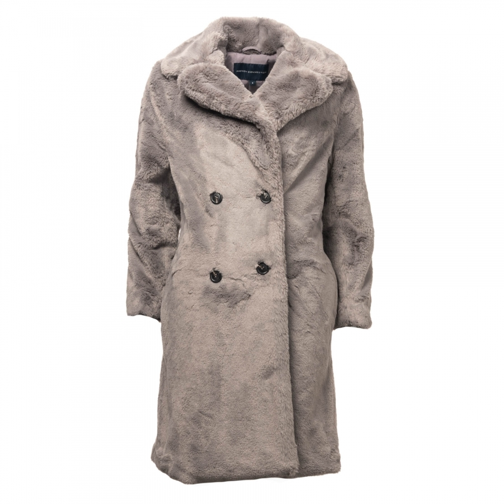 c5a8a4ea9 French Connection Pf Annie Faux Fur Double Breasted Womens Fur Coat ...