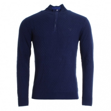 GANT Cotton Texture Mens Half Zip Sweater