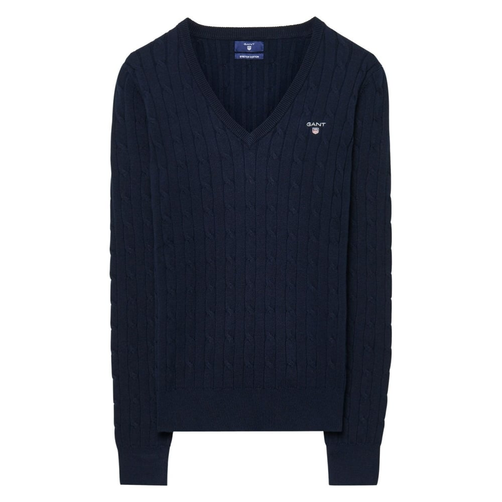 GANT Stretch Cotton Cable V-Neck Womens Jumper - Womens from CHO ...