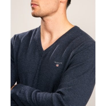 Gant Mens Super Fine Lambswool V Neck Knit Sweater Navy