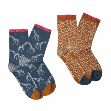 Giraffe Geo Womens Socks 2 Pack