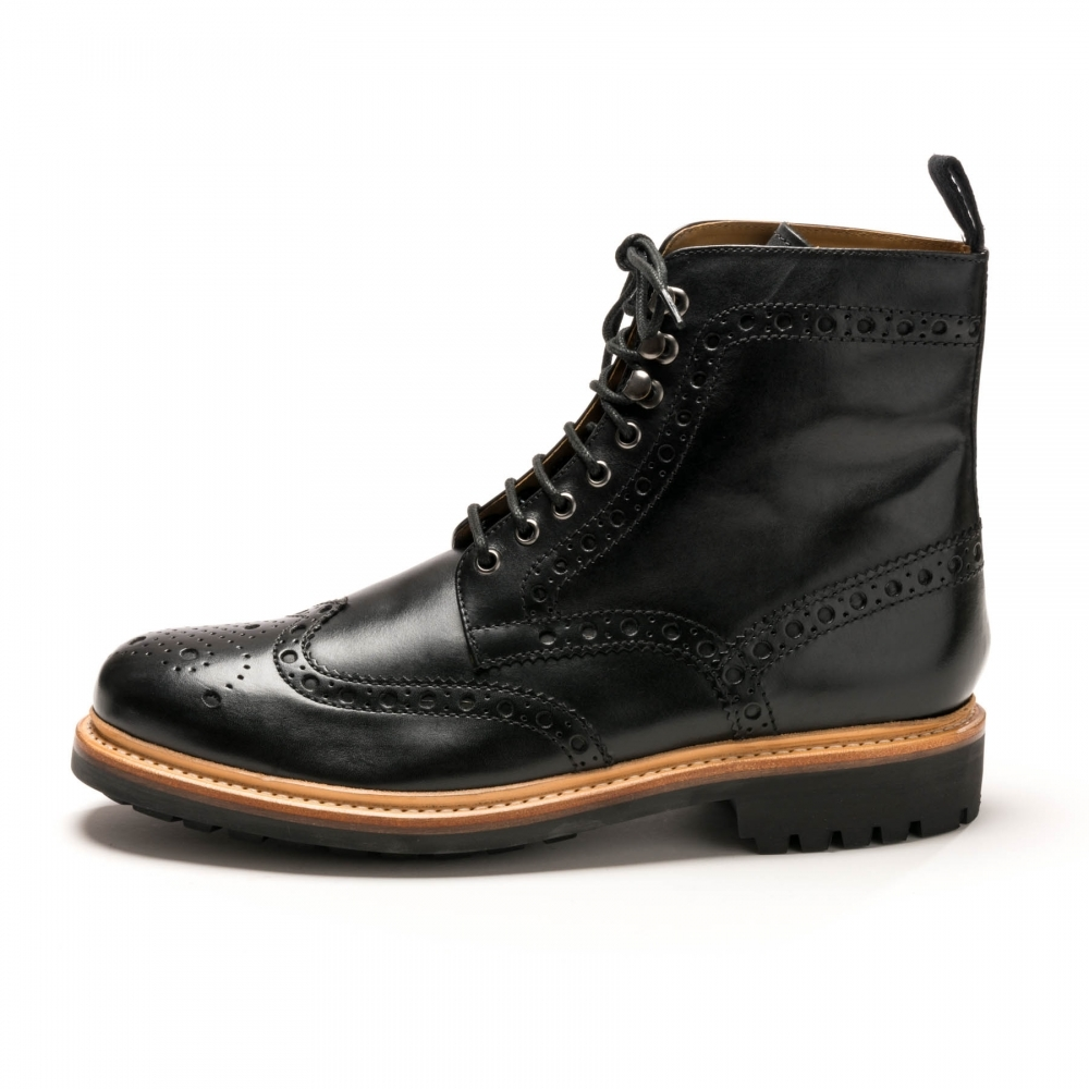 7b9dbfcaf88f9 Grenson Fred Black Calf Mens Brogue Boot - Mens from CHO Fashion and ...