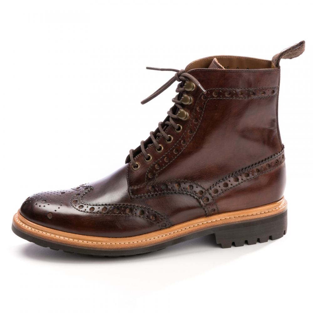 ea9b65eb82db0 Grenson Fred Handpainted Dark Brown Mens Brogue - Footwear from CHO ...