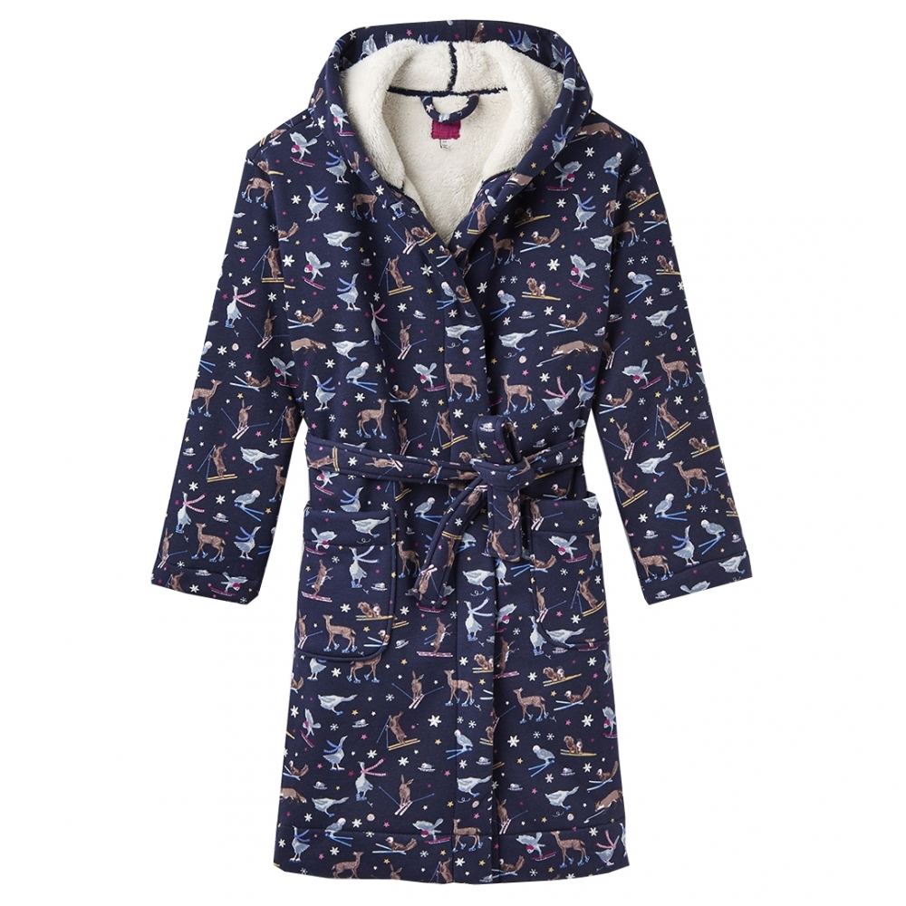 Joules Womens Idlewhile Printed Dressing Gown in GREY SLEEPING DOGS Size L//XL