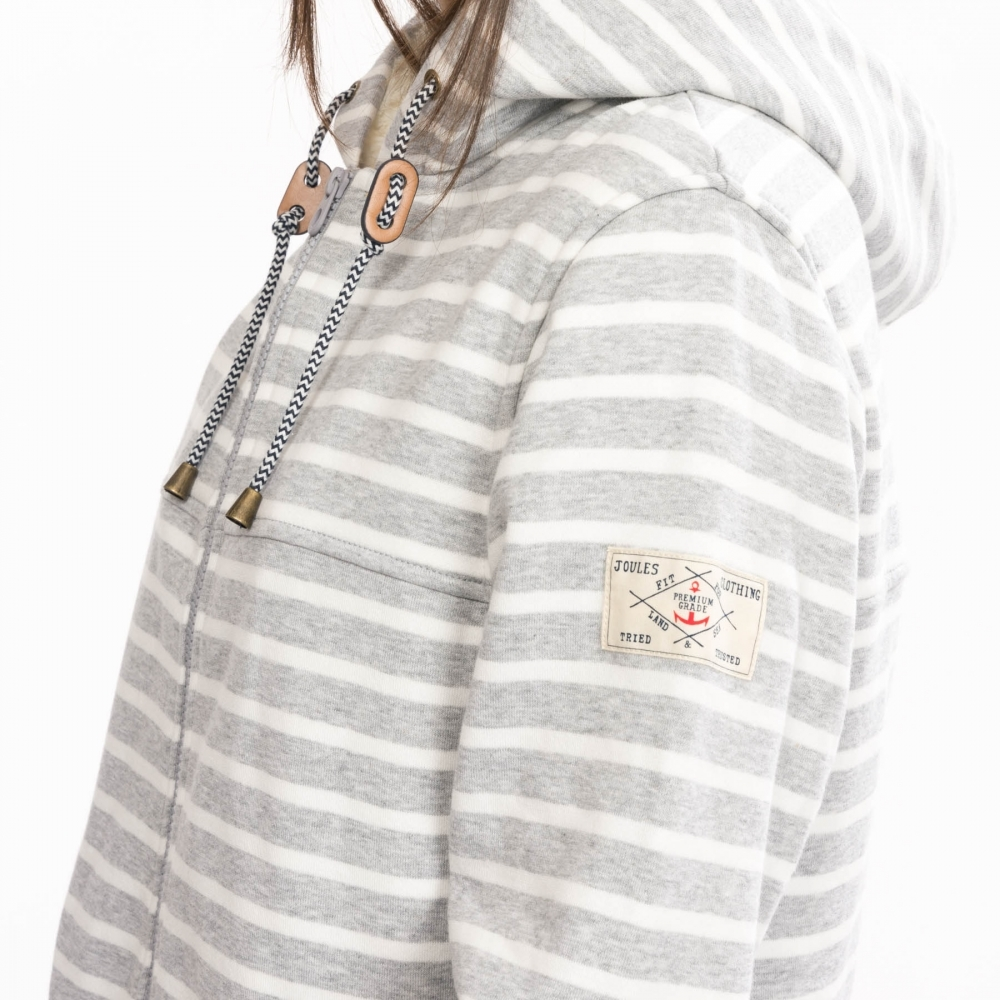 Womens Stripe Zip Thru Hoody Sweatshirt