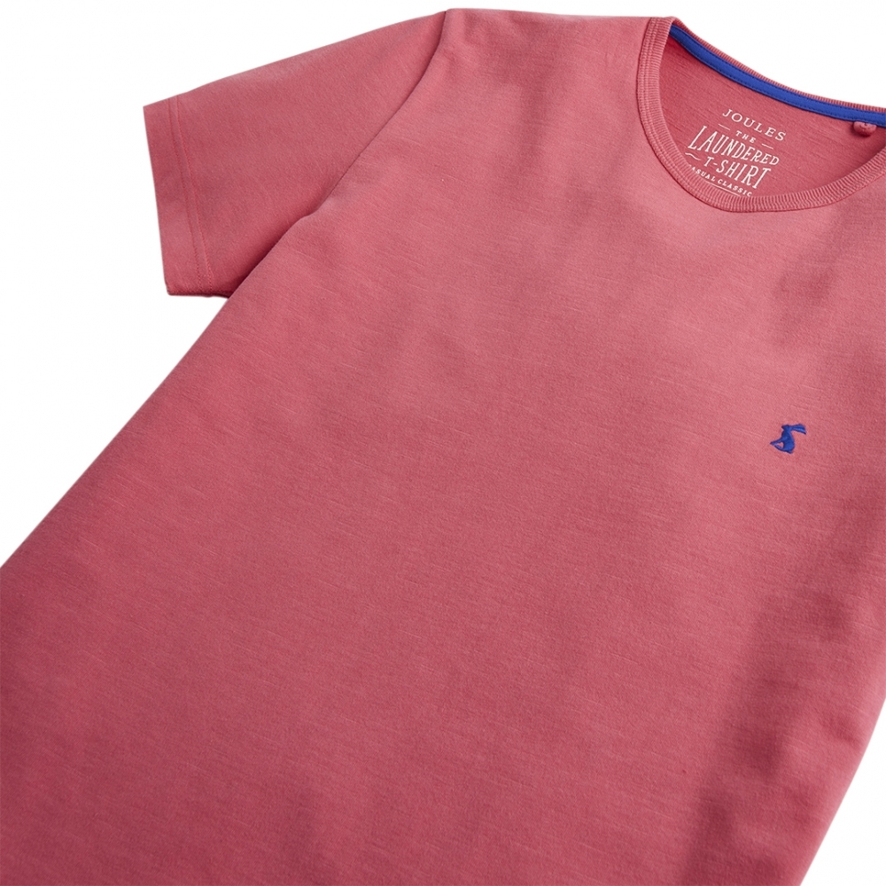Joules Mens Laundered Tee Plain Crew Neck T shirt in LIGHT PINK