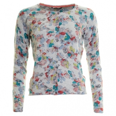 Lily & Me Floral Print Vintage Floral Womens Cardigan