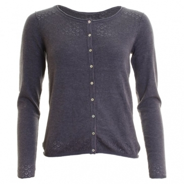 Lily & Me Lands End Pointelle Plain Marl Womens Cardigan