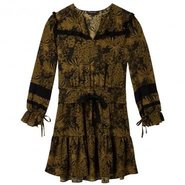 54b18df8046d0c Maison Scotch Long Sleeve Printed Contrast Ruffle Womens Dress