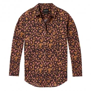 9371f34228c7c3 Maison Scotch Relaxed Fit Drop Shoulder Cotton Viscose Button up Womens Top