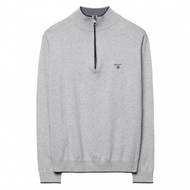 Pima Cotton Sporty Zip Mens Jumper