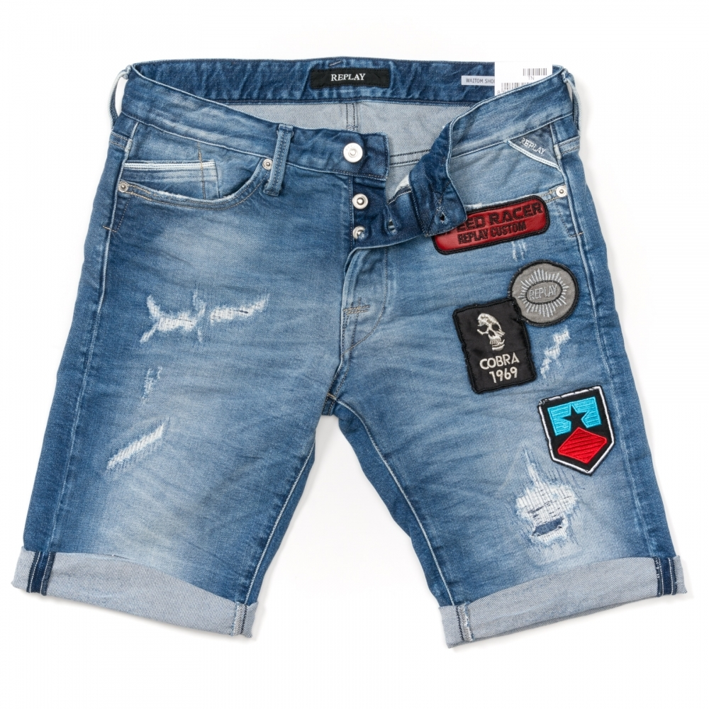 perfekte Qualität schöner Stil Angebot Replay Replay 12oz Mid-Dark Comfort Mens Denim Jean Shorts