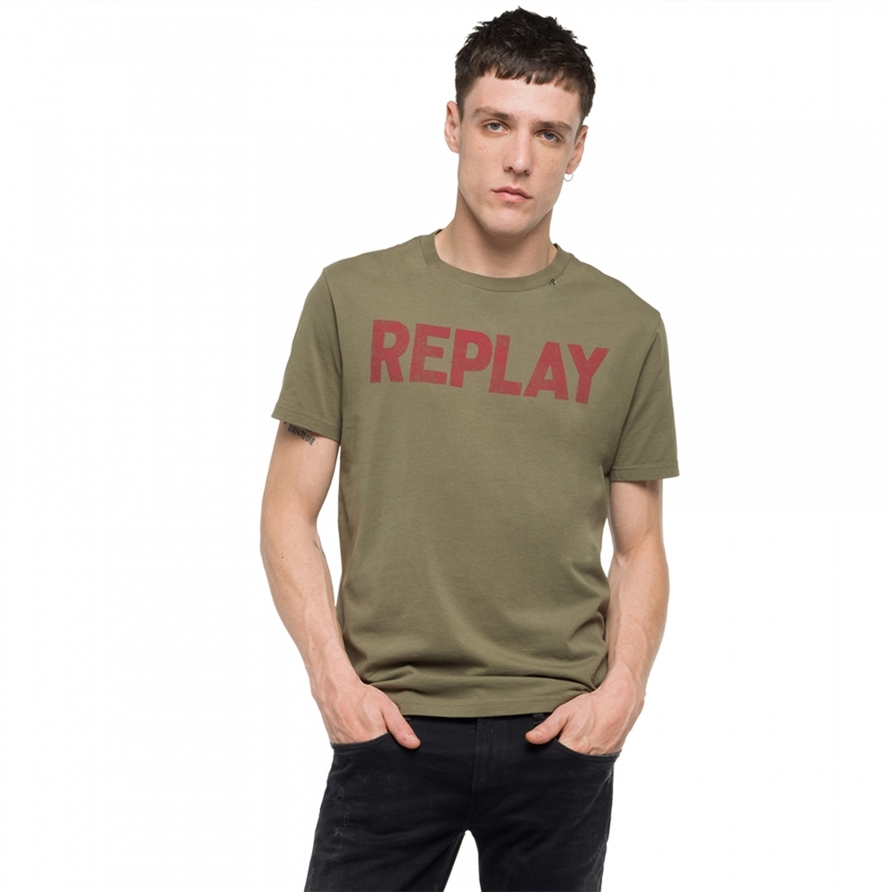 Replay Round Neck Chest Pocket Khaki T-Shirt M Khaki
