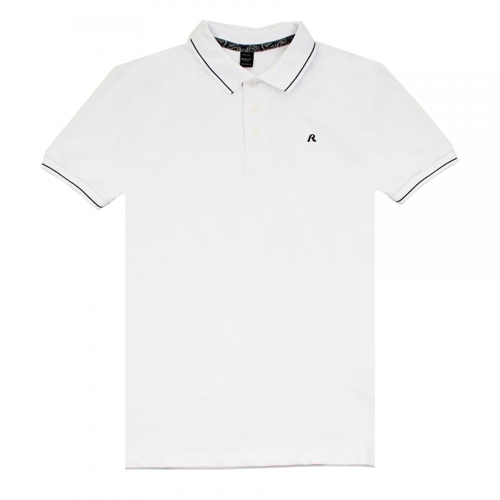 cc501e28cf40 Replay Solid Stretch Pique Mens Polo Shirt - Mens from CHO Fashion ...