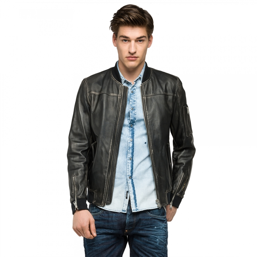 replay sprayed mens leather jacket mens from cho fashion
