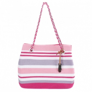 Striped Paperstraw Tote Bag