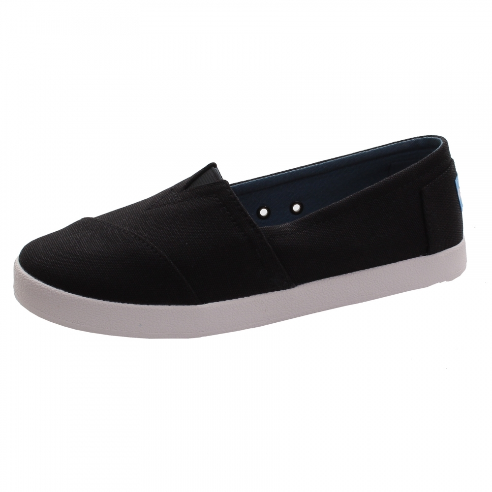 a2579c978bb1 TOMS Avalon Black Coated Canvas Womens Slip-On - Womens Shoes