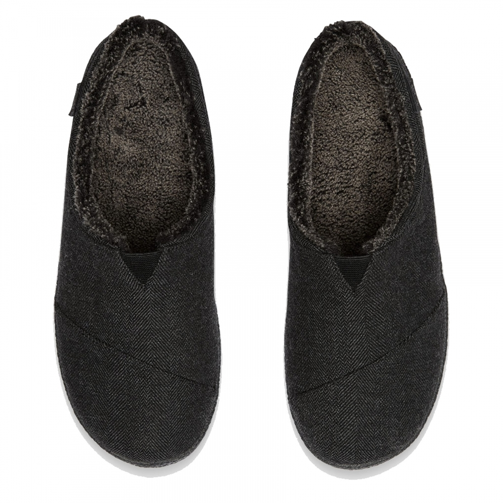 19d8bbe47a2 TOMS Berkeley Slipper Black Herringbone Woolen Mens Slipper ...