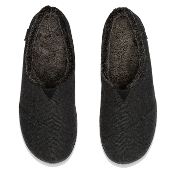 a6836ed8cd5e TOMS Berkeley Slipper Black Herringbone Woolen Mens Slipper ...