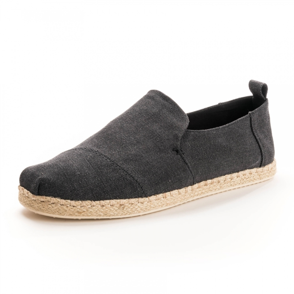 b3d27ea30ca TOMS Deconstructed Alpargata Rope Black Washed Canvas  Rope Mens Espadrille