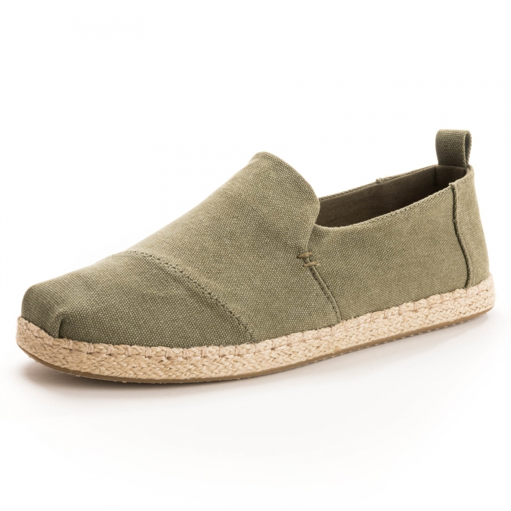 TOMS Deconstructed Alpargata Rope Olive Washed Canvas  Rope Mens Espadrille 9284331f57c