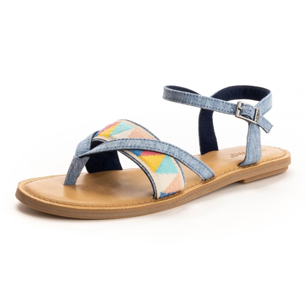 360feb40d7c TOMS Lexie Blue Slub Chambray  Multi Tribal Womens Sandal - Womens ...