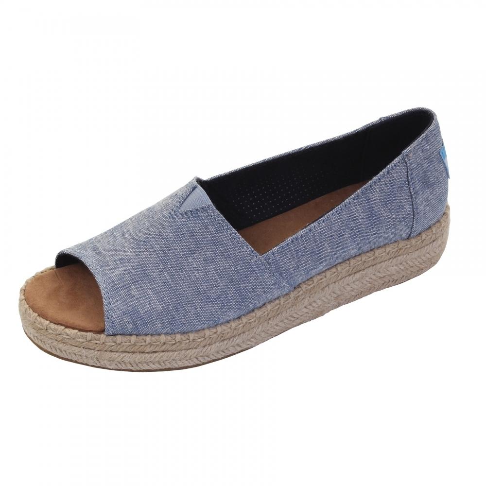 287044945 TOMS Open Toe Platform Alpargata Blue Slub Chambray Womens Espadrille