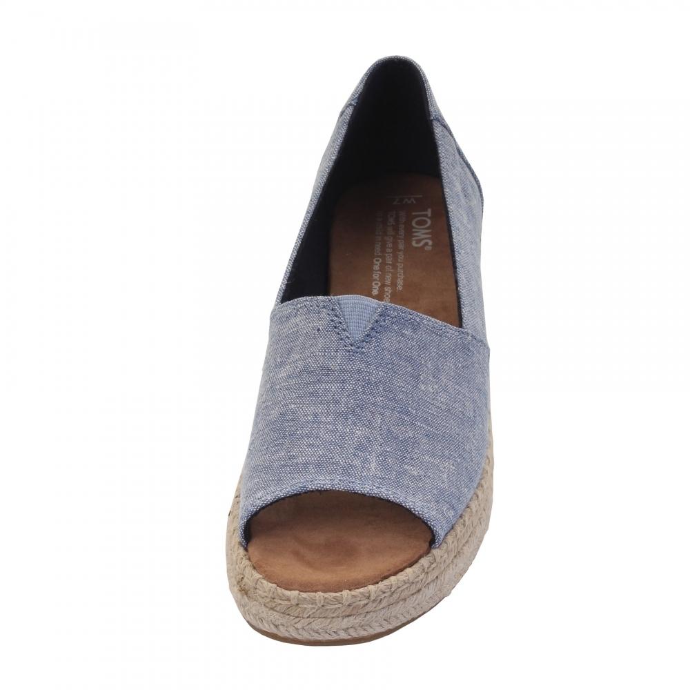 76386919f686 TOMS Open Toe Platform Alpargata Blue Slub Chambray Womens Espadrille