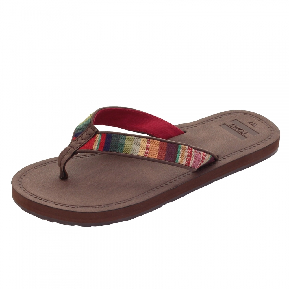 a80f696d4842 TOMS Solana Brown Multi Textile Womens Flip-Flop - Womens Shoes ...